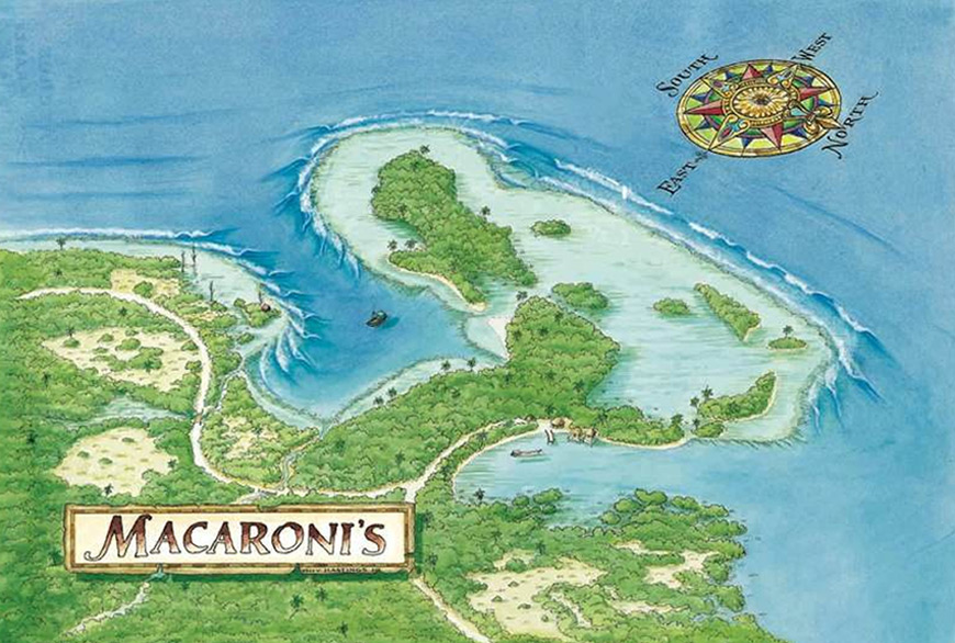 Hand Drawn Macaronis Wave Map